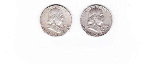 Franklin Half Dollar Lot of 2, 90 % Silver $1 face value