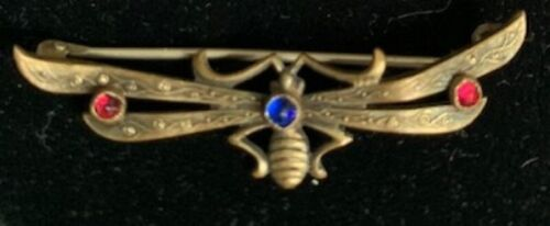 VINTAGE ART NOUVEAU BRASS FLY BROOCH W/ RED & BLUE STONES & C CLASP