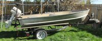 12' Aluminum Boat with 4.5 HP Outboard, Trolling Motor & Trailer