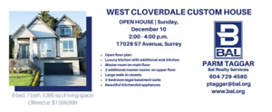 New House for Sale in West Cloverdale (Surrey) 17029 57AVE