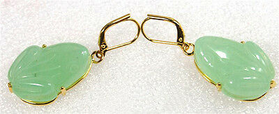 Natural Light Green Jade Frog Pendant Yellow Gold Plated Hook Earrings