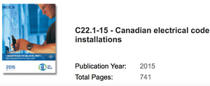 Canadian Electrical Code 2015 new version, not used