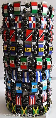 Country Flag Hematite Magnetic Bracelets Stretch Elastic New w Slight -