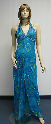(Sue Wong Designer Dress & Shawl Blue Halter Floral Evening Wedding Beaded Teal)