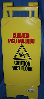 Caution Wet Floor Sign Plastic Self Standing 2-sided Industrial Commercial