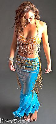 THE Deluxe Little Mermaid Belly Dance Costume Bra Sexy Halloween Hot Ariel S M L