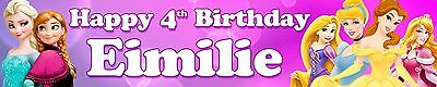 2 x Disney Princess Personalised Birthday Banners Elsa/Anna/Cinderella/Belle