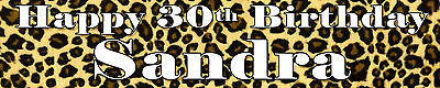 LEOPARD PRINT ANIMAL  PERSONALISED BIRTHDAY BANNERS PACK OF TWO ](Leopard Birthday Banner)