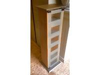 CD / DVD Tower Storage - Birch Effect / Glass front - Home House Furniture Storage TV HiFi Music