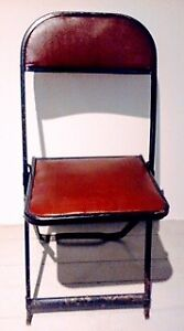 FREE DELIVERY  3 Folding Chairs RED LEATHER Antique