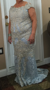 Prom dress or dress for party light blue with pearls