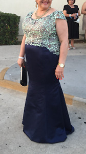 Dress for prom navy and light green