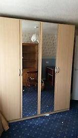 FOUR DOOR BEECH WARDROBE FOR SALE