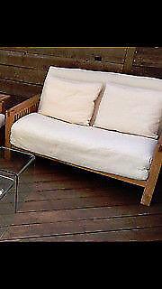 Two Seat Solid Oak Futon By Company Oke Range With Three Fold