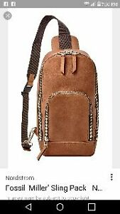 leather Fossil Sling Pack