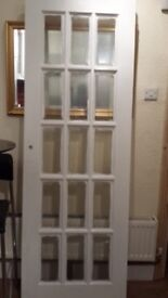 Solid hard wood door with beveled glass panels