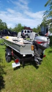 Fishermen's friend- Aluminum fishing boat with trailer-the works