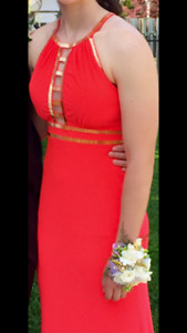 CORAL LONG PROM DRESS