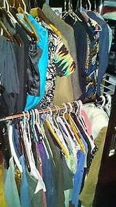 mostly small and medium( one rack Lg/XL) ladies clothes