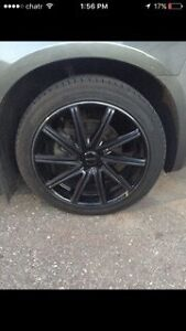 20 inch 5 bolt 43 offset all black rufino rims and tires