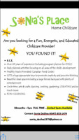 Full time Home childcare positions available at Sonia's Place