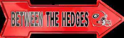 GEORGIA BULLDOGS BETWEEN THE HEDGES EMBOSSED METAL ARROW SIGN MAN CAVE ROOM Georgia Bulldogs Metal