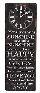 You are My Sunshine Rustic Wooden Clock