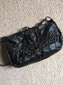 Leather look skull bag