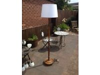 Lovely vintage oak standard-lamp and shade in perfect working order and condition.