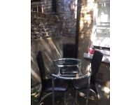 Glass dinning table with 3 chairs