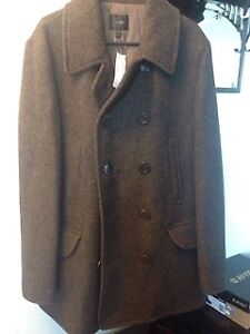Mens NWT J Crew Pea Coat in Charcoal - size Large - Tall