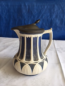 Antique Blue and White Jug with Pewter Lid