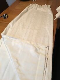 Ivory Patterned Curtains x 2 pairs & Tie Backs x 1 pair
