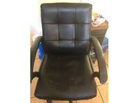 Black Office Chair - Re Upholstered Seat