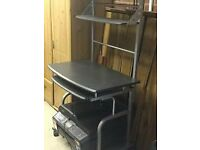 AS NEW GREY TALL TIERED PC WORK STATION UNIT WITH PORTABLE ATTACHMENT EX COND