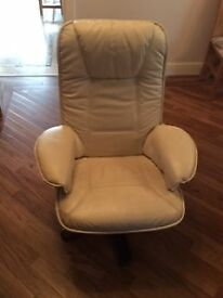 Used cream leather adjustable chair. In good condition.