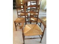 5 ladder back antique chairs