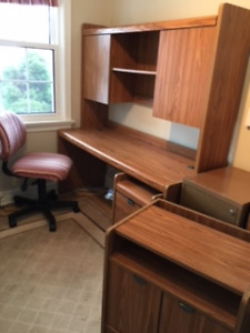 Desk with Hutch, chair, underdesk drawers and printer unit