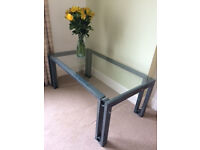 Coffee table, stylish Vert-de-gris frame, glass top