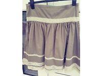 Size M (12) Zara khaki cotton skirt with cotton lace detail