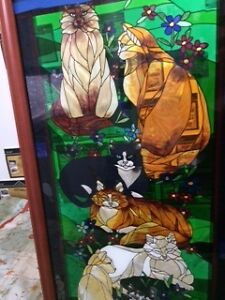 stained glass cat picture in frame