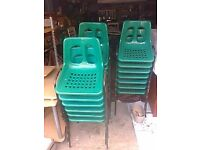 20 Green Plastic and Metal Stacking Chairs