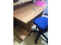 small beech effect, curved front office desk and blue adjustable chair. VGC