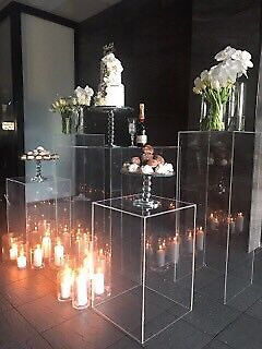 Gold cake stand and wedding props for hire