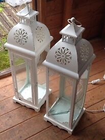 Pair of beautiful white metal and glass lanterns, for wedding or garden party £20