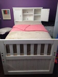 Solid wood storage bed and Sealy Posturepedic mattress