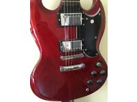 Vintage VS6 Cherry Red Electric Guitar with Amplifier