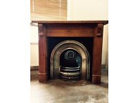 Fireplace and Mantelpiece - Stainless Steel & Cast Iron (very good condition) and Wooden Mantelpiece