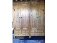 Solid Pine Double Wardrobe in excellent condition
