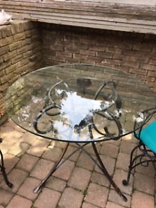 Glass / Iron Dining Table